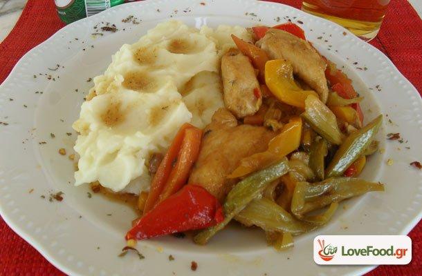 Πολύχρωμο κοτόπουλο ντίρλα  (με λαχανικά και μπύρα)
