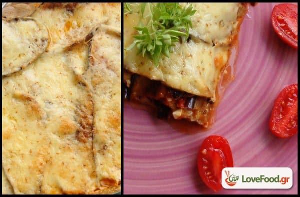 Μελιτζάνες φούρνου με σάλτσα ντομάτας & καπνιστό τυρί