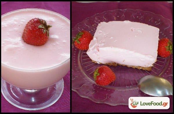 Γιαουρτογλυκό με ζελέ φράουλα. Γεύση εξ απαλών ονύχων