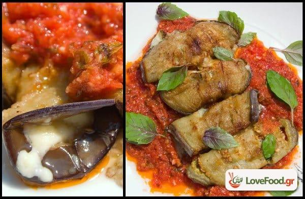 Ρολά μελιτζάνας με μπλε τυρί & σάλτσα ντομάτας, τυρογιάμ.